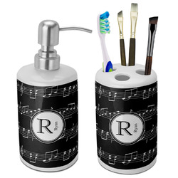 Musical Notes Ceramic Bathroom Accessories Set (Personalized)