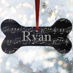Musical Notes Ceramic Dog Ornaments w/ Name and Initial