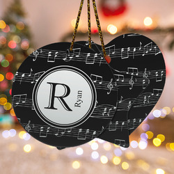 Musical Notes Ceramic Ornament w/ Name and Initial