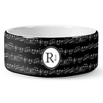 Musical Notes Ceramic Dog Bowl (Personalized)