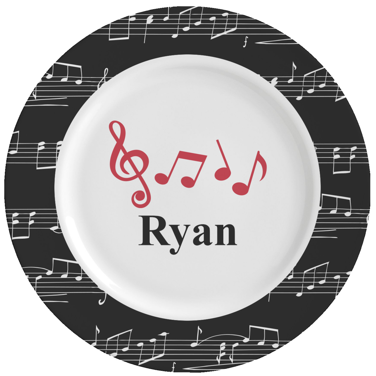 Musical Notes Ceramic Dinner Plates (Set Of 4) (Personalized)