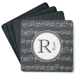 Musical Notes 4 Square Coasters - Rubber Backed (Personalized)