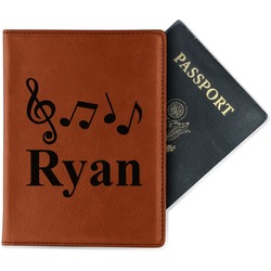Musical Notes Leatherette Passport Holder (Personalized)