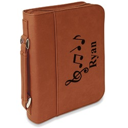 Musical Notes Leatherette Book / Bible Cover with Handle & Zipper (Personalized)