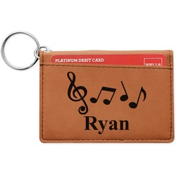 Musical Notes Leatherette Keychain ID Holder (Personalized)