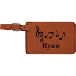 Musical Notes Leatherette Luggage Tag (Personalized)
