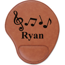 Musical Notes Leatherette Mouse Pad with Wrist Support (Personalized)