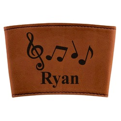 Musical Notes Leatherette Mug Sleeve (Personalized)