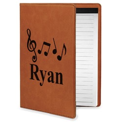 Musical Notes Leatherette Portfolio with Notepad - Small - Single Sided (Personalized)