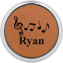 Musical Notes Leatherette Round Coaster w/ Silver Edge - Single or Set (Personalized)