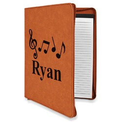 Musical Notes Leatherette Zipper Portfolio with Notepad (Personalized)