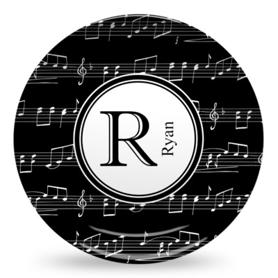 Musical Notes Microwave Safe Plastic Plate - Composite Polymer (Personalized)