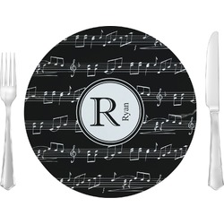 "Musical Notes Glass Lunch / Dinner Plates 10"" - Single or Set (Personalized)"