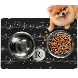 Musical Notes Dog Food Mat - Small w/ Name and Initial