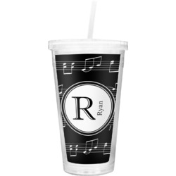 Musical Notes Double Wall Tumbler with Straw (Personalized)