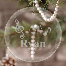 Musical Notes Engraved Glass Ornament (Personalized)