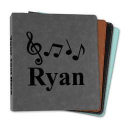 """Musical Notes Leather Binder - 1"""" (Personalized)"""