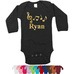 Musical Notes Foil Bodysuit - Long Sleeves - 0-3 months - Gold, Silver or Rose Gold (Personalized)