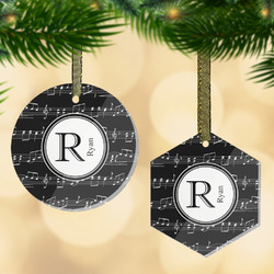 Musical Notes Flat Glass Ornament w/ Name and Initial