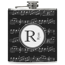 Musical Notes Genuine Leather Flask (Personalized)