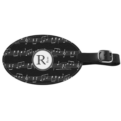 Musical Notes Genuine Leather Oval Luggage Tag (Personalized)
