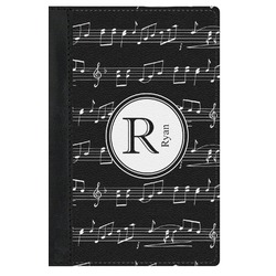 Musical Notes Genuine Leather Passport Cover (Personalized)