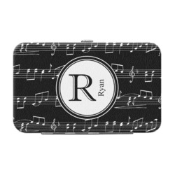 Musical Notes Genuine Leather Small Framed Wallet (Personalized)