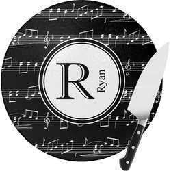 Musical Notes Round Glass Cutting Board (Personalized)