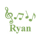 Musical Notes Glitter Iron On Transfer- Custom Sized (Personalized)