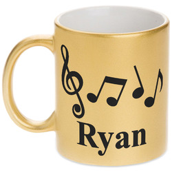 Musical Notes Gold Mug (Personalized)
