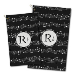Musical Notes Golf Towel - Full Print w/ Name and Initial