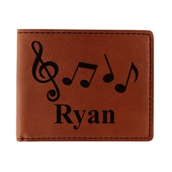 Musical Notes Leatherette Bifold Wallet (Personalized)