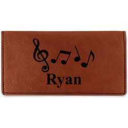 Musical Notes Leatherette Checkbook Holder (Personalized)
