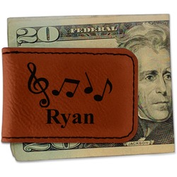Musical Notes Leatherette Magnetic Money Clip (Personalized)