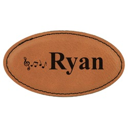 Musical Notes Leatherette Oval Name Badge with Magnet (Personalized)
