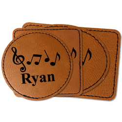 Musical Notes Faux Leather Iron On Patch (Personalized)