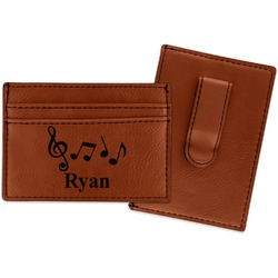 Musical Notes Leatherette Wallet with Money Clip (Personalized)
