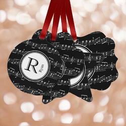 Musical Notes Metal Ornaments - Double Sided w/ Name and Initial