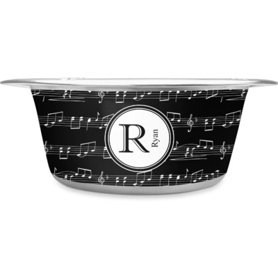 Musical Notes Stainless Steel Dog Bowl (Personalized)