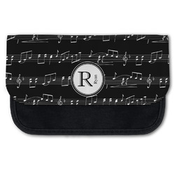 Musical Notes Canvas Pencil Case w/ Name and Initial