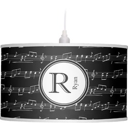 Musical Notes Drum Pendant Lamp Linen (Personalized)