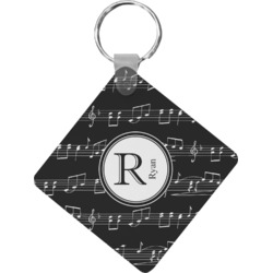 Musical Notes Diamond Plastic Keychain w/ Name and Initial