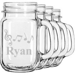 Musical Notes Mason Jar Mugs (Set of 4) (Personalized)