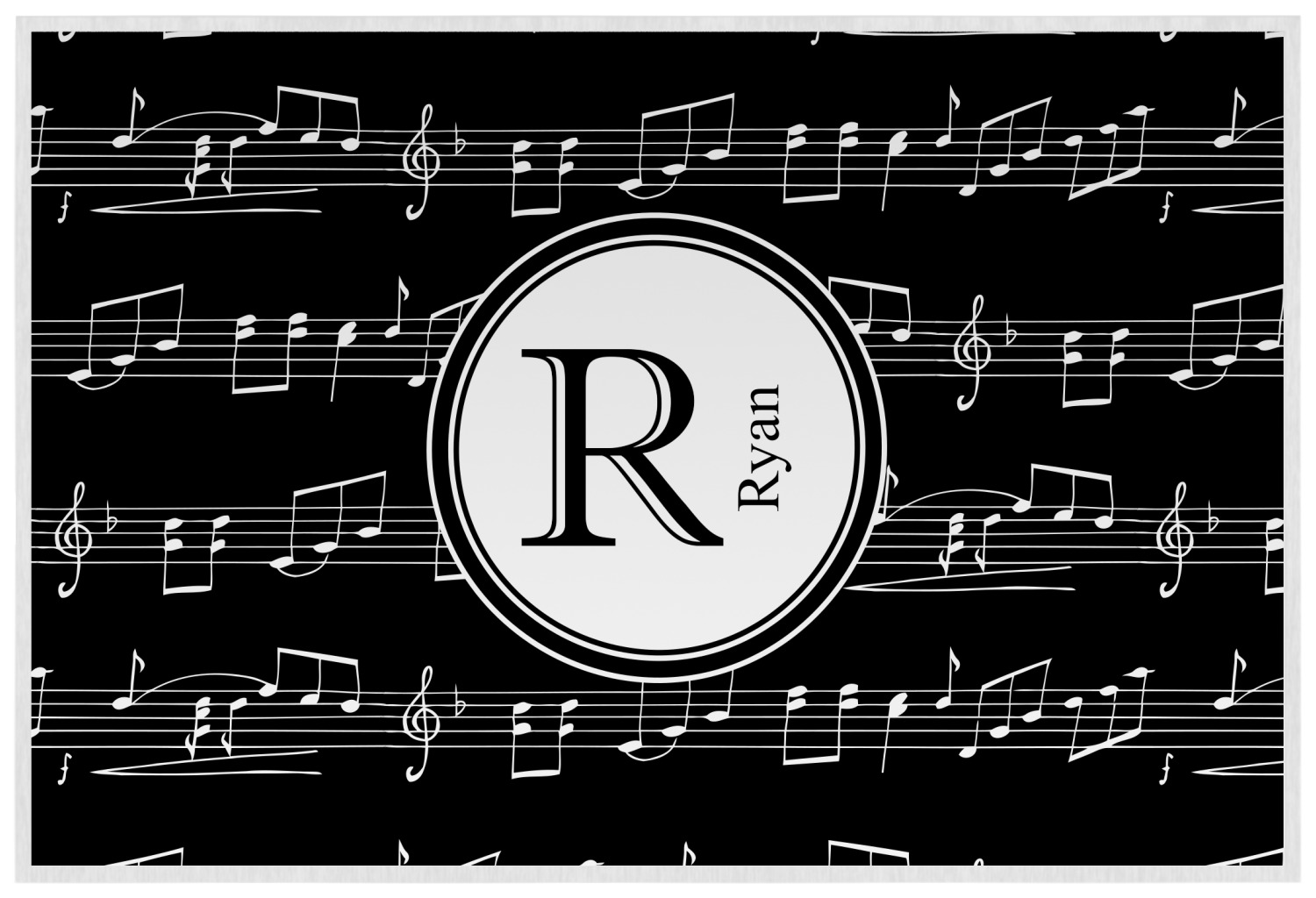 musical notes placemat laminated personalized youcustomizeit
