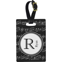 Musical Notes Plastic Luggage Tag - Rectangular w/ Name and Initial