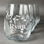 Musical Notes Stemless Wine Glasses (Set of 4) (Personalized)
