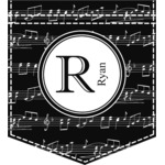 Musical Notes Iron On Faux Pocket (Personalized)