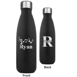 Musical Notes RTIC Bottle - Black - Engraved Front & Back (Personalized)
