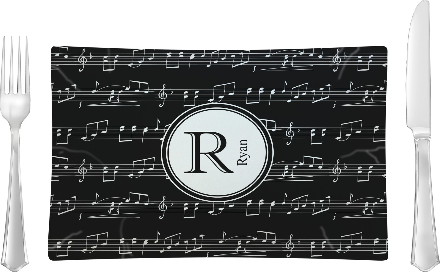 Musical Notes Glass Rectangular Lunch / Dinner Plate - Single or Set (Personalized)  sc 1 st  YouCustomizeIt & Musical Notes Glass Rectangular Lunch / Dinner Plate - Single or Set ...