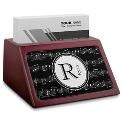 Musical Notes Red Mahogany Business Card Holder (Personalized)
